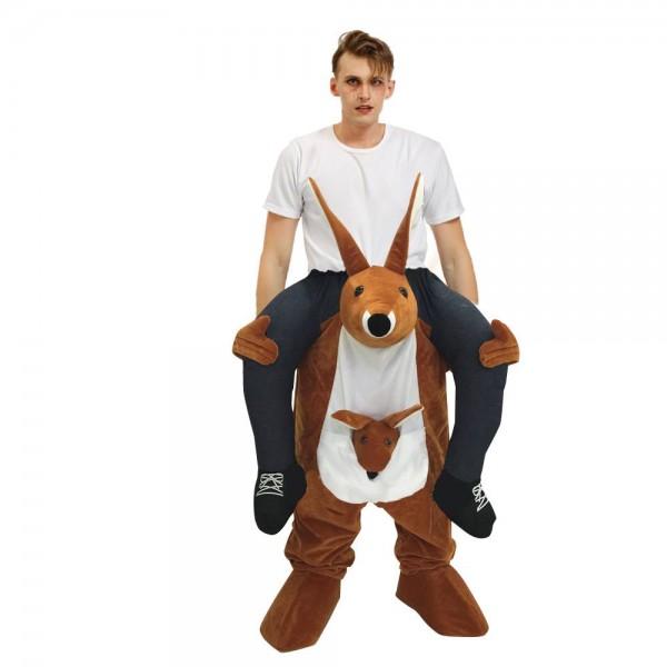 Braun Känguru Tragen mich Reiten auf Schick Kleid Kostüm zum Erwachsener/Kind