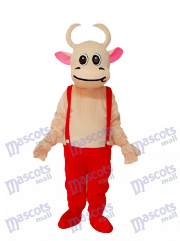 Red Overalls Kuh Maskottchen Adult Kostüm Tier