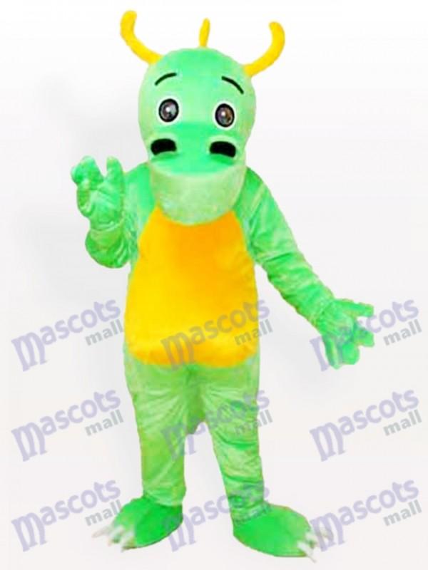 Große Nase gehörnter grüner Dinosaurier Maskottchen Kostüm