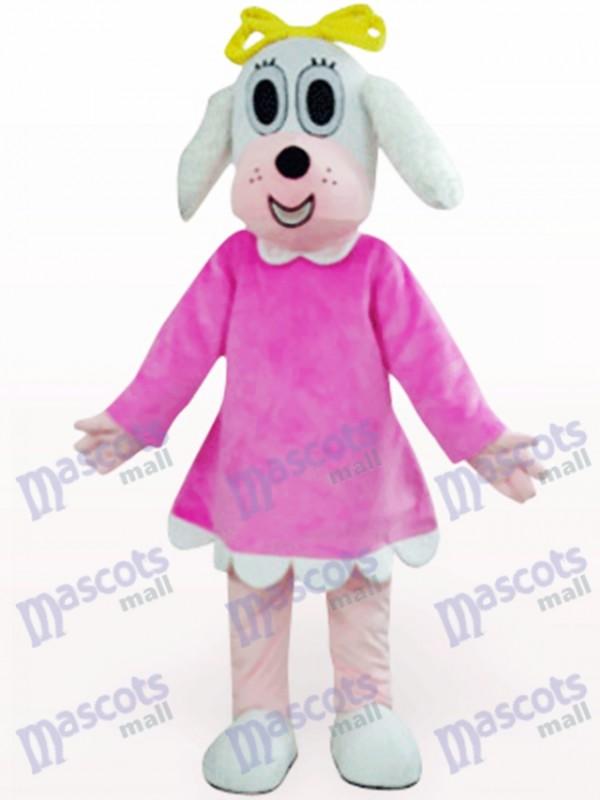 Weiblicher Hund in Fuchsia Kleidung Tier Maskottchen Kostüm