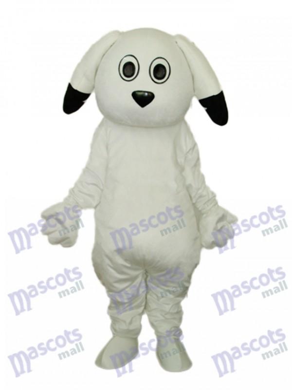 Schwarze Ohren Weiße Hund Maskottchen Erwachsene Kostüm Tier