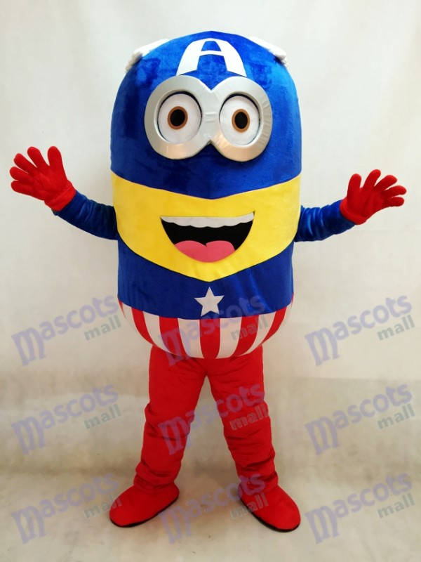 Despicable Me Minions Captain America Maskottchen Kostüm Fancy Dress Outfit