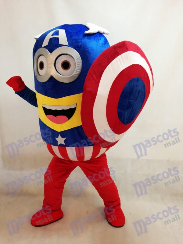 Despicable Me Minions Captain America mit Schild Maskottchen Kostüm Fancy Dress Outfit