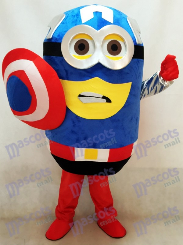 Despicable Me Minions Captain America Maskottchen Kostüm mit Cape und Shield Fancy Dress Outfit Cartoon