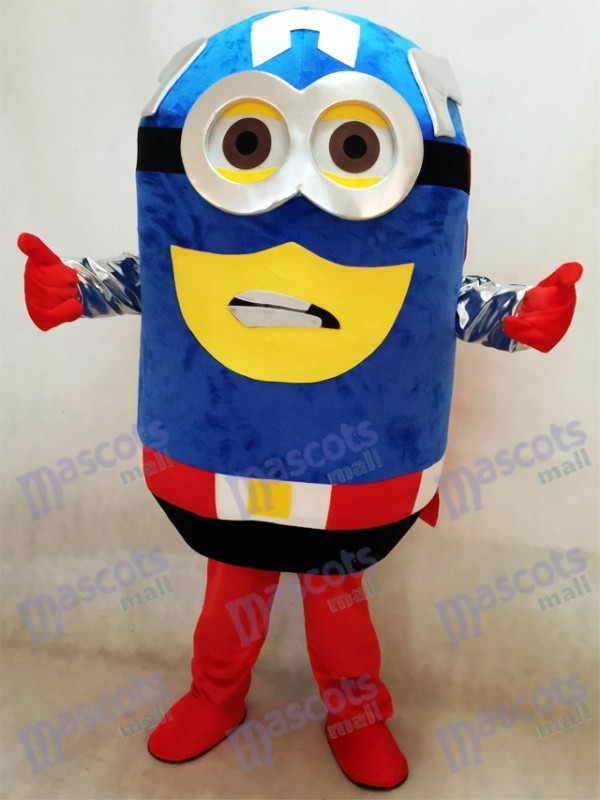 Despicable Me Minions Captain America Maskottchen Kostüm mit Cape Fancy Dress Outfit