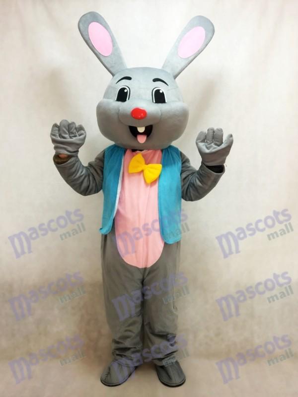 Ostern Grau Häschen Grau Kaninchen Hase Maskottchen Kostüm in der blauen Weste