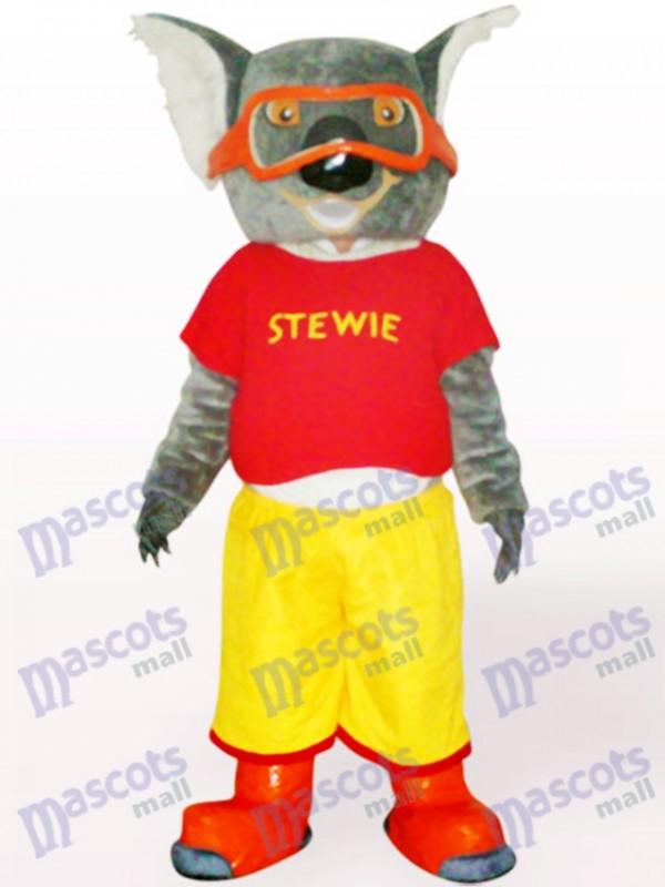 Skifahren Koala in roter Kleidung Maskottchen Kostüm