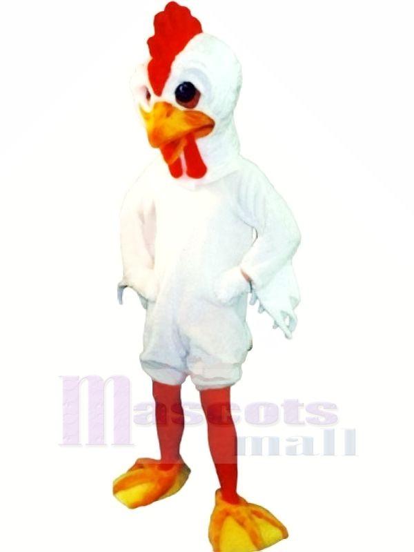 Schlank Weiß Hahn Maskottchen Kostüme Karikatur