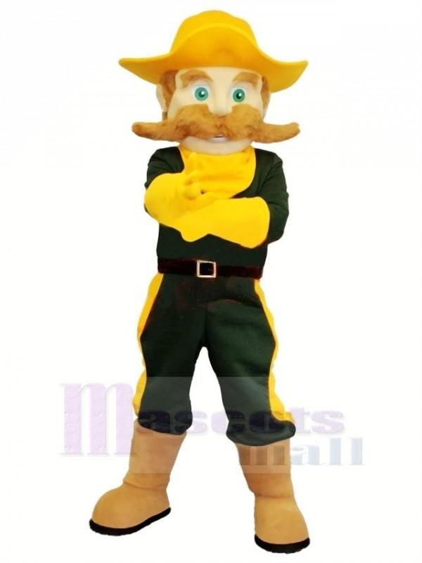 Cowboy mit Grün Augen Maskottchen Kostüm Karikatur
