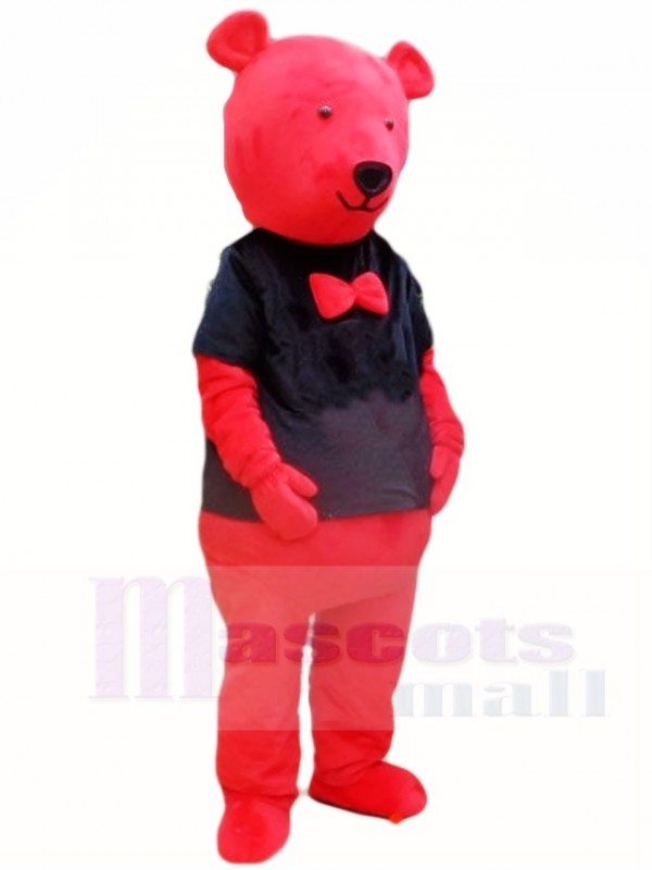 Mascot Animal Rosso Teddy In Black Shirt Bear Costume UMSpzqVG