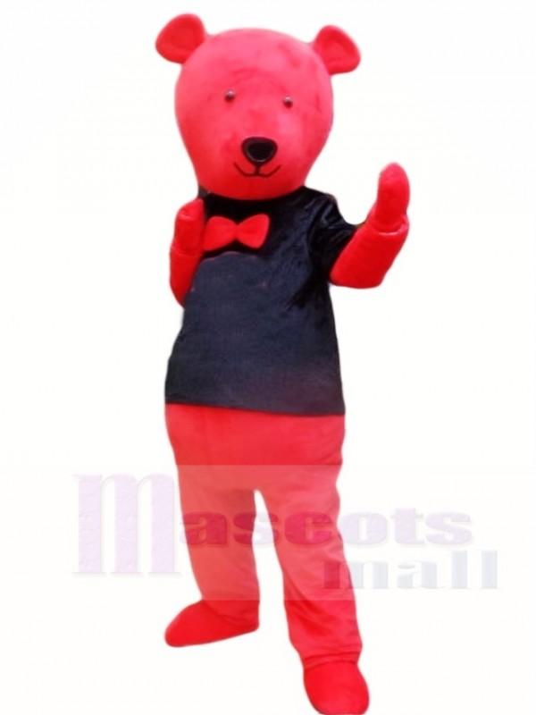 Roter Teddybär im schwarzen Hemd Maskottchen Kostüm Tier