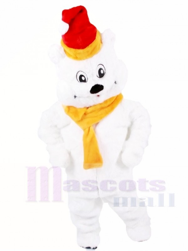 Rot Hut Polar Bär mit Gelb Schal Maskottchen Kostüme Tier Weihnachten