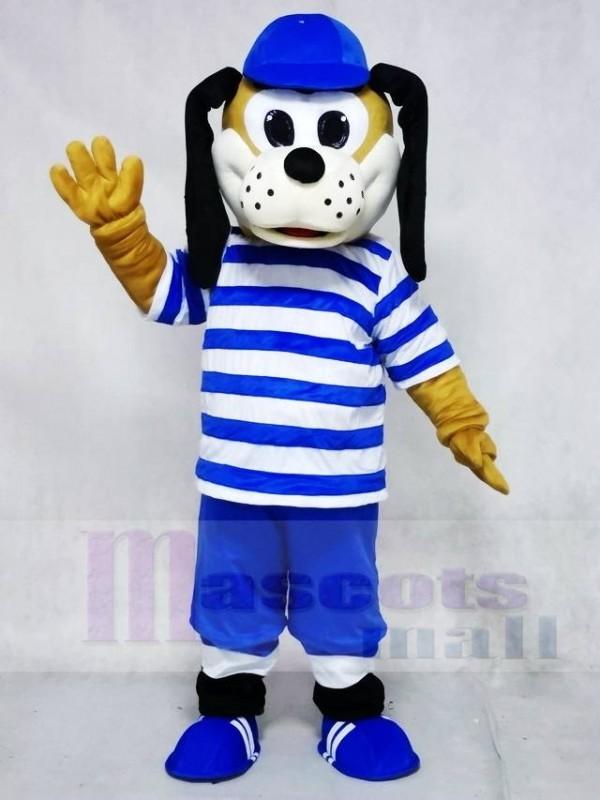 Hund im blauen gestreiften Hemd Maskottchen Kostüme Tier
