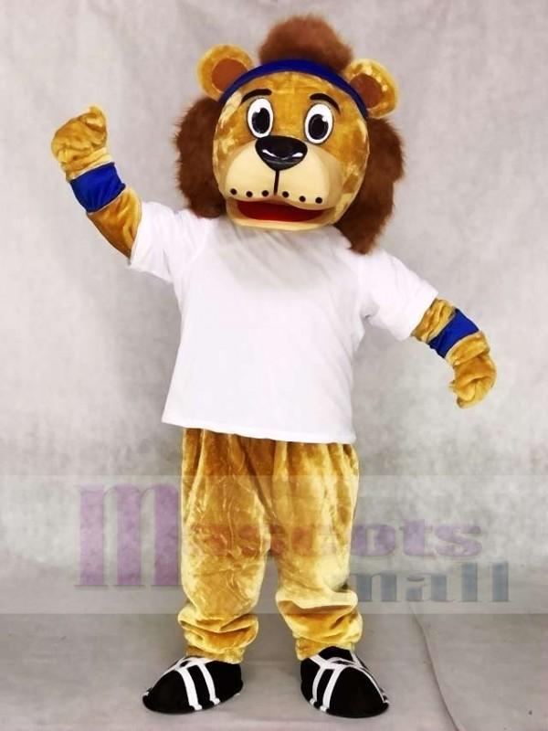 Lenny Der Löwe mit weißer Weste und blauem Stirnband Maskottchen Kostümen Tier