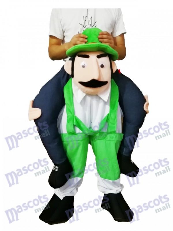 Huckepack bärtigen Onkel Carry Me Ride grüne Overalls Mann Maskottchen Kostüm