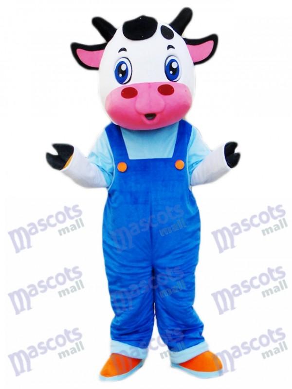 Kuh im blauen Overall Maskottchen Kostüm Karikatur