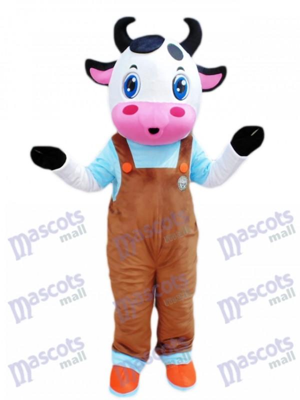 Blaue Augen Kuh mit braunen Overall Maskottchen Kostüm Cartoon
