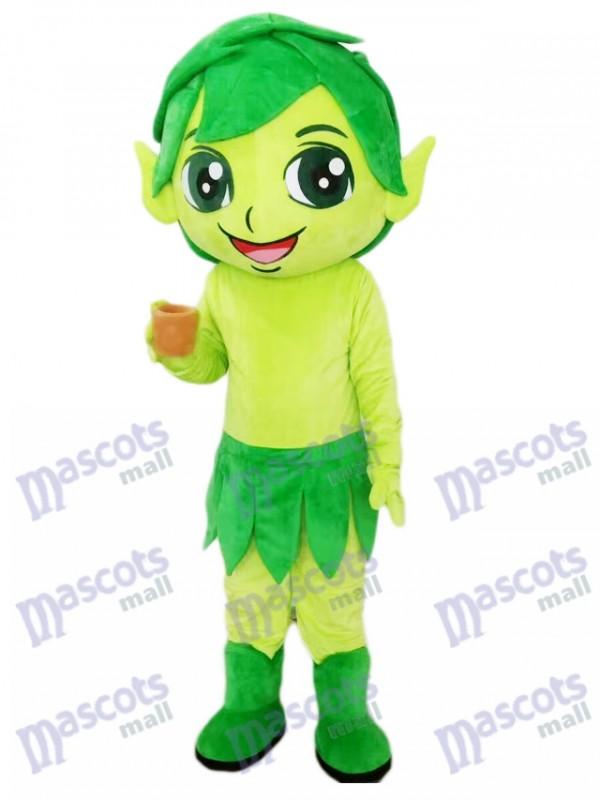 Grüner Elf Zauberer mit Blatt Maskottchen Kostüm Karikatur