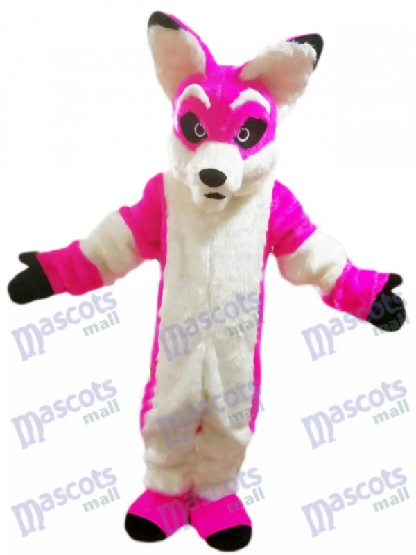 Rosa Husky Hundefox Maskottchen Kostüm Karikatur