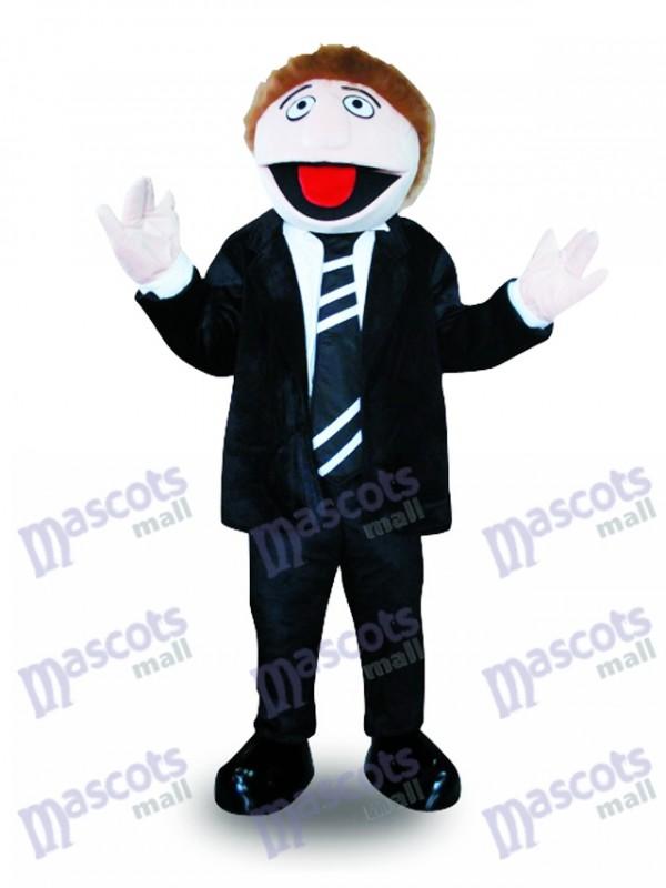 Schwarzer Anzug Mann Maskottchen Kostüm Cartoon