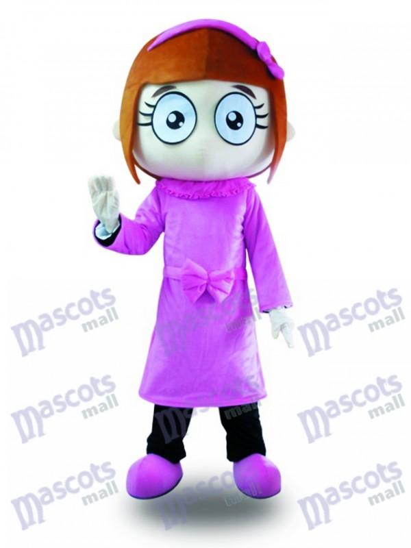 Lila Kleid große Augen Mädchen Maskottchen Kostüm Karikatur