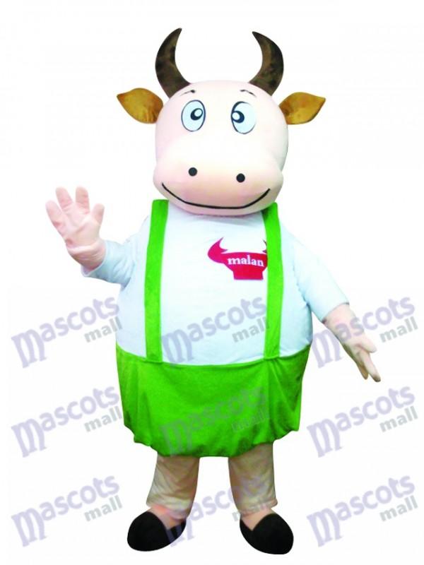 Fette Kuh mit blauem Overall Maskottchen Kostüm Tier