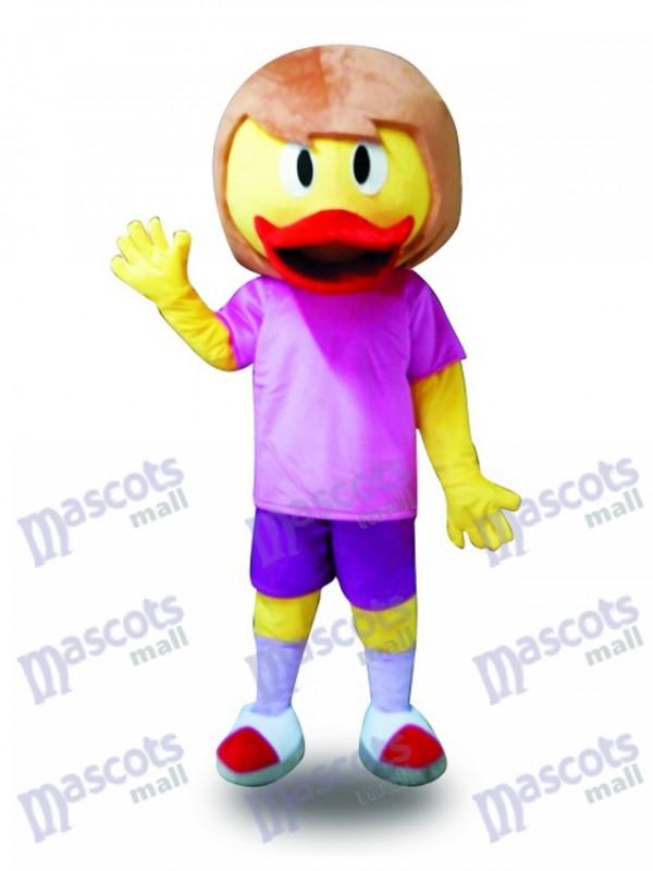Gelbe Ente in lila Anzug Maskottchen Kostüm Bauernhof