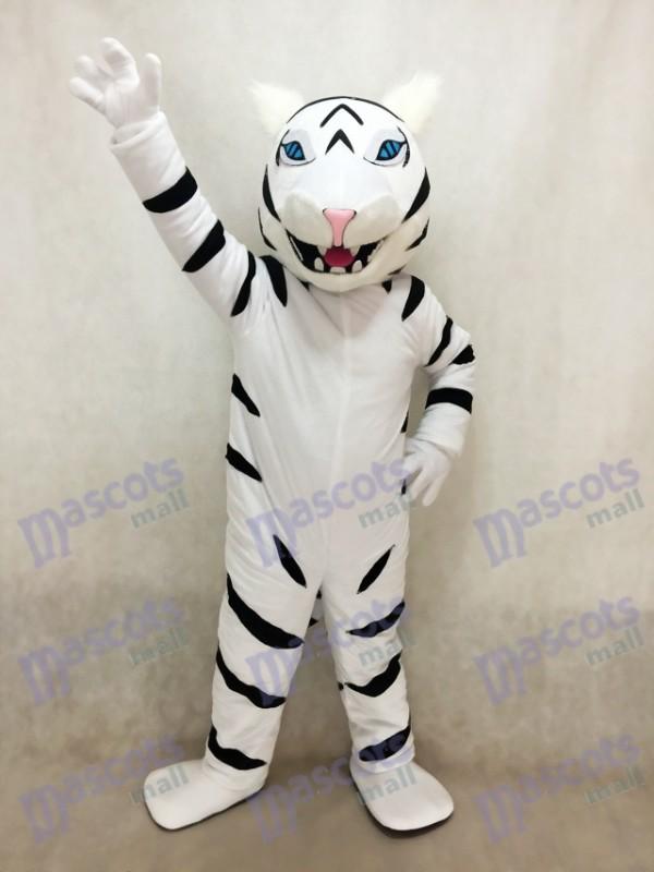 Weiß Albino Tiger Maskottchen Kostüm ohne Bart