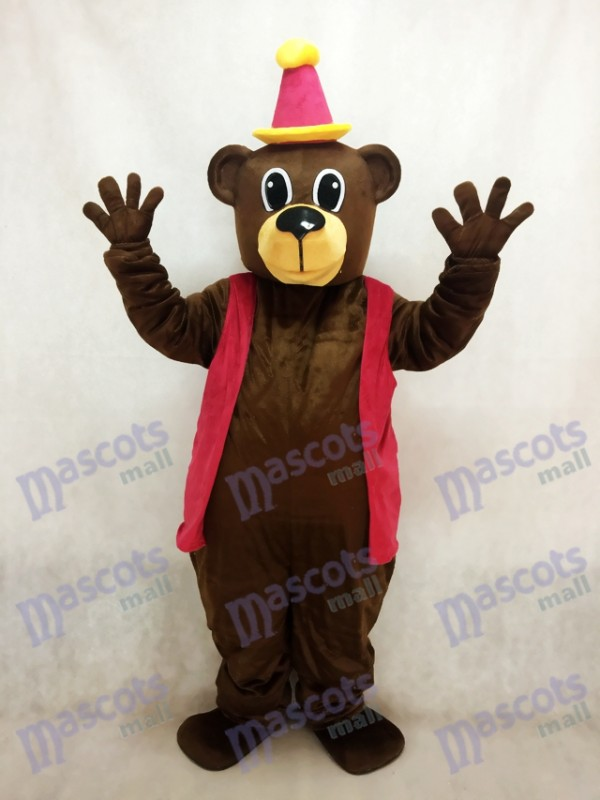 Brauner Geburtstagsbär mit Weste & Hut Maskottchen Kostüm