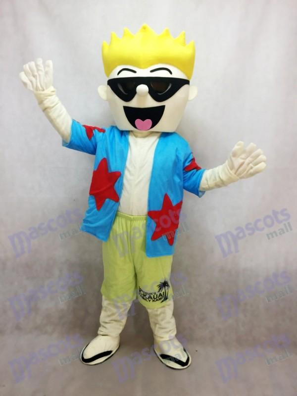 Coole Sonnenbrille Junge Maskottchen Kostüm im blauen Hemd