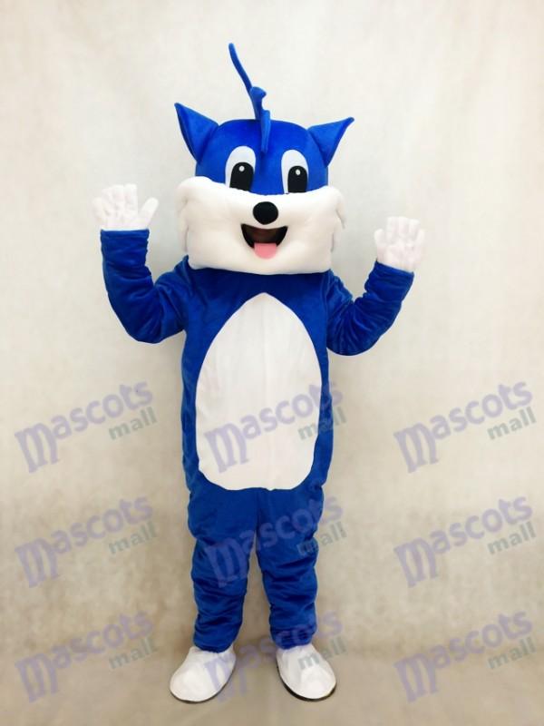 Blaue Katze Adult Maskottchen Kostüm mit weißem Bauch Tier