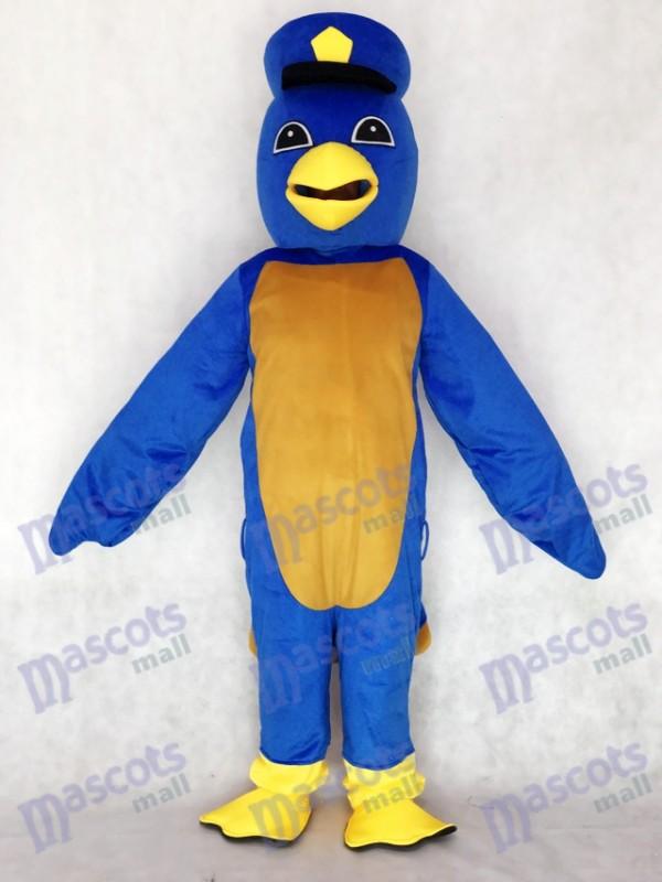 Adult Cute Blue Bird Maskottchen Kostüm mit Kapitän Entlein Hut Tier