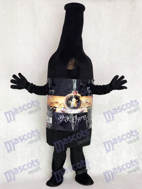 Trinken Schwarz Wodka Weinflasche Maskottchen Kostüm Party