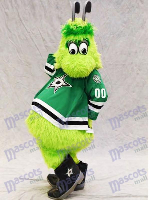 Victor E. Green von Dallas Stars Maskottchenkostüm Furry Green Alien mit Hockeyschlägern