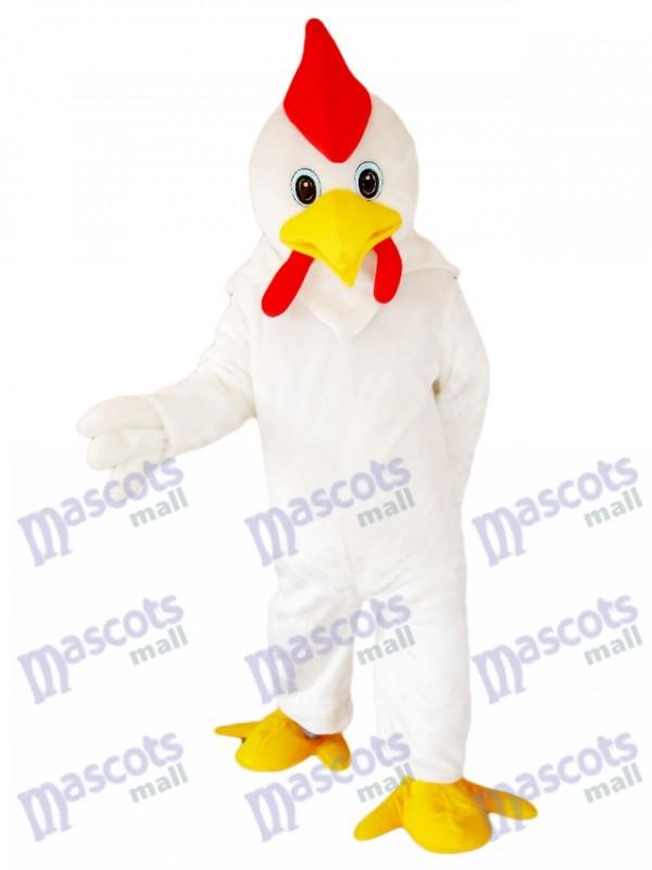 Weißes Hahn Huhn Maskottchen Kostüm Karikatur Tier