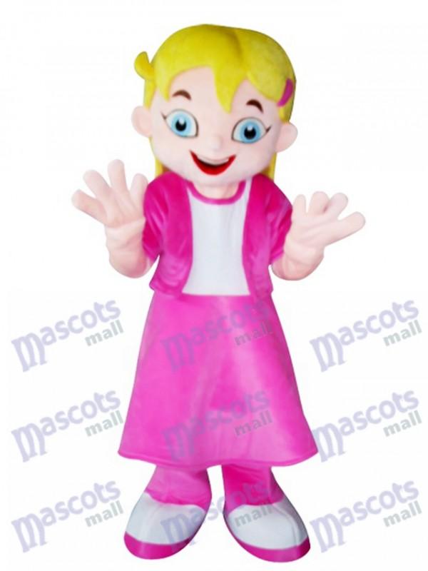 Gelbes Haar Mädchen im rosa Kleid Maskottchen Kostüm Cartoon