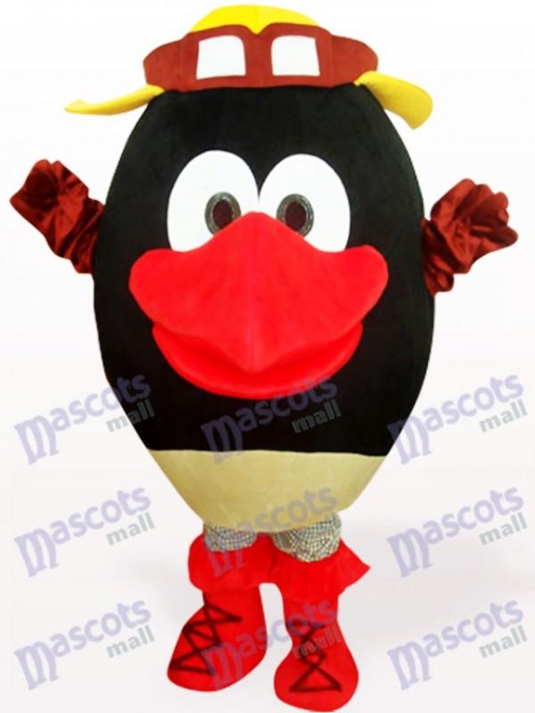 Schwarze Runde Kopf Puppe Plüsch Adult Maskottchen Kostüm