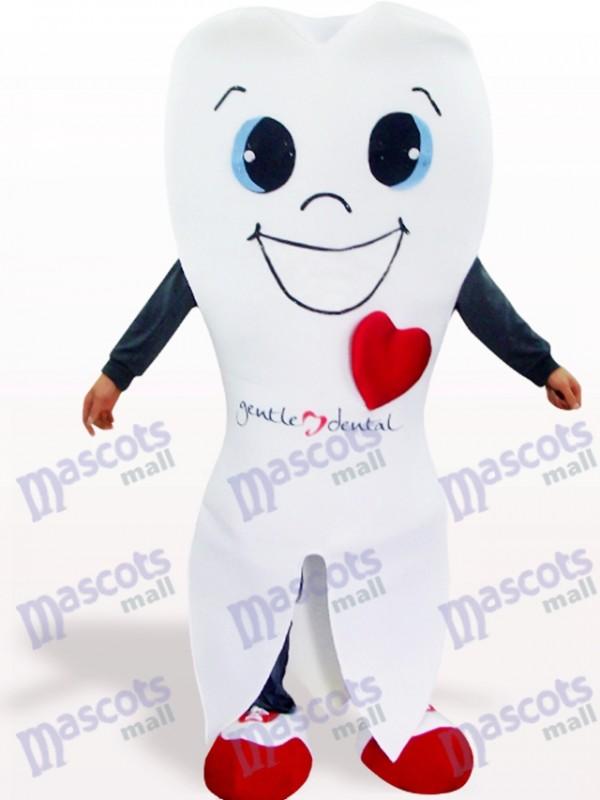 Weißes Zahn Cartoon Maskottchen Kostüm