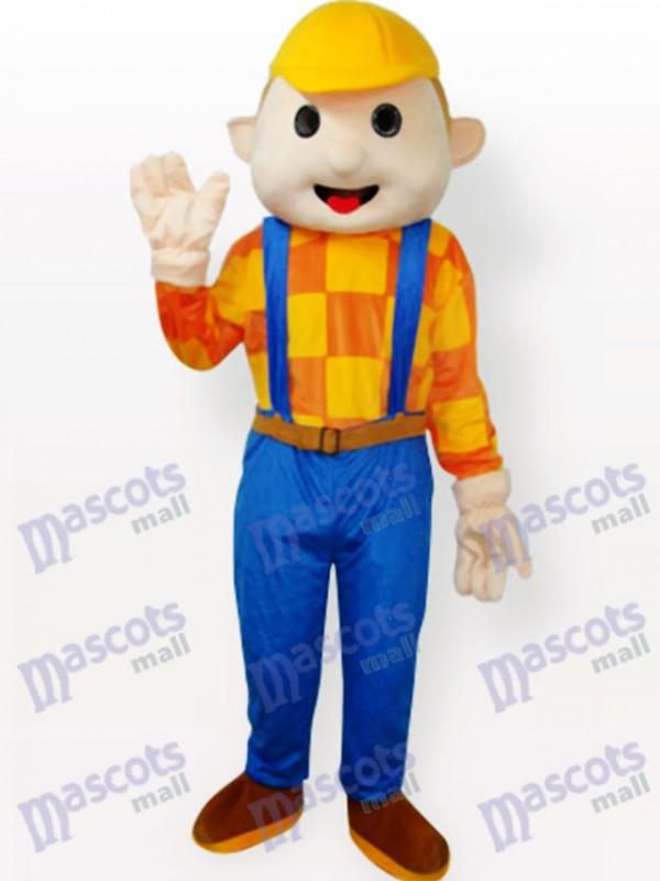 Gelber Hut Junge Cartoon Adult Maskottchen Kostüm