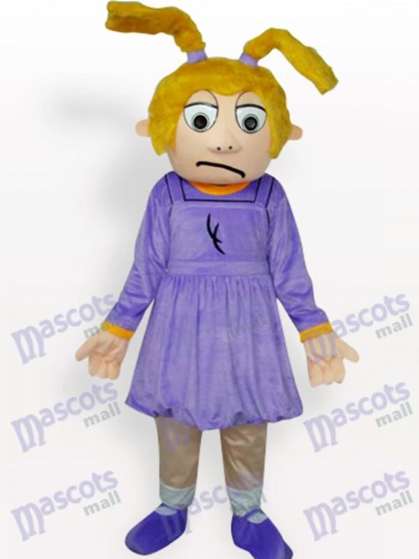 Lila trauriger Mädchen Cartoon Maskottchen Kostüm für Erwachsene