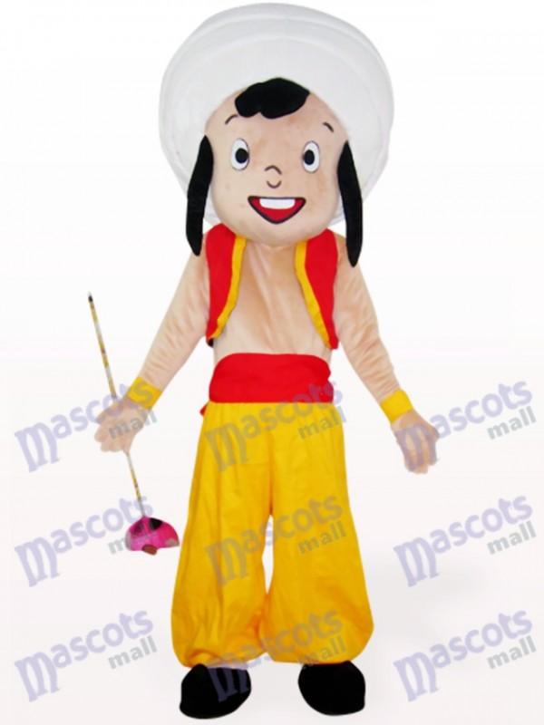 Gelbes arabisches Jungen Karikatur Maskottchen Kostüm