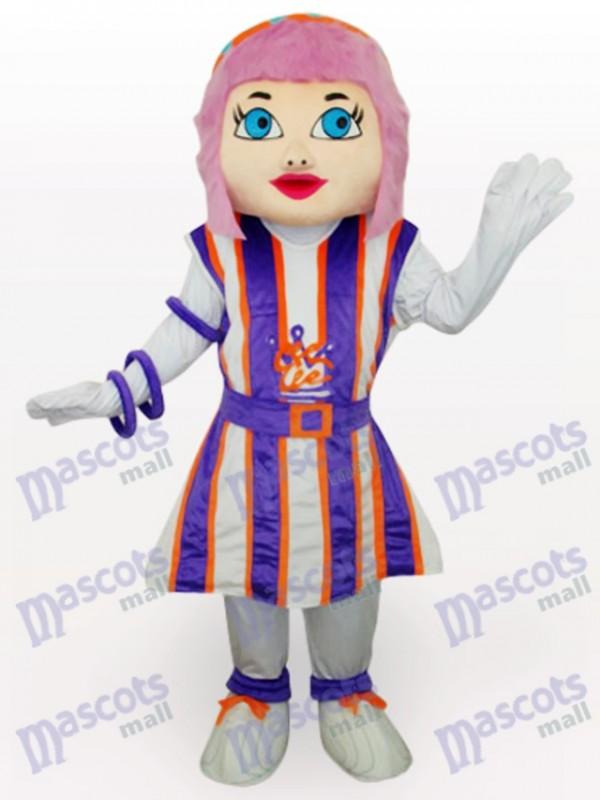 Lila Haar Mädchen Cartoon Adult Maskottchen Kostüm