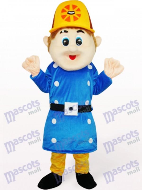 Blaues Arbeiter Sam Maskottchen Kostüm