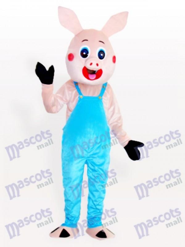 Mr. Schwein in Latzhose Tier Maskottchen Kostüm für Erwachsene