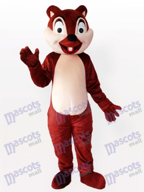Winzige braune Eichhörnchen mit einem Schneidezahn Erwachsenen Maskottchen kostüm