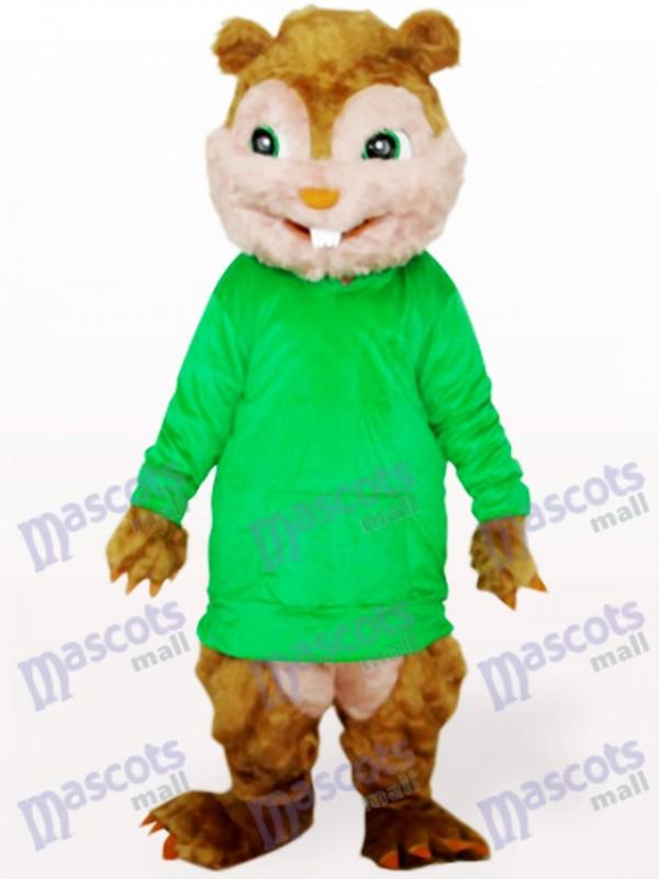 Grünes Eichhörnchen mit langen Haaren und kurzen Zähnen Tier Maskottchen Kostüm