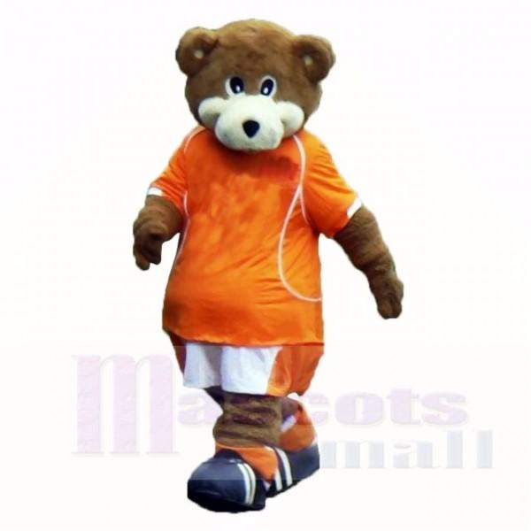 Fußball Bär mit Orange T-Shirt Maskottchen Kostüme Schule