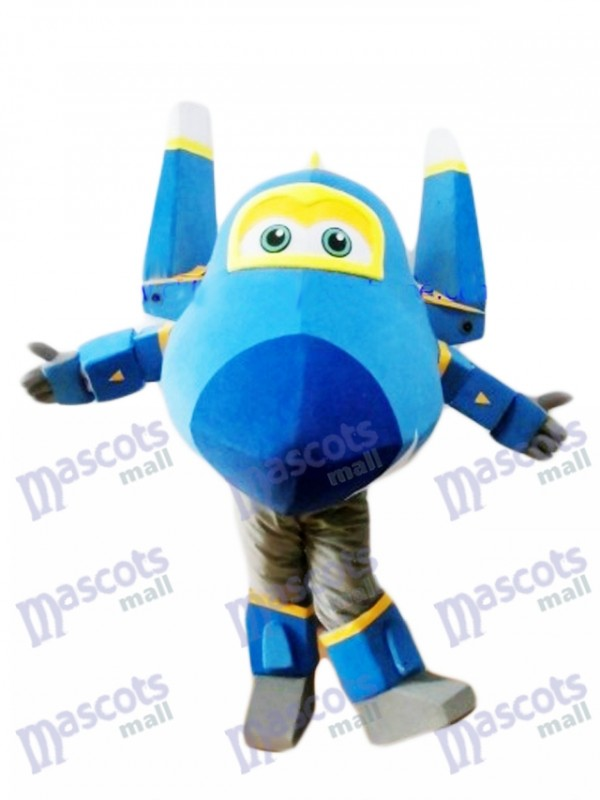 Blue Fighter Jet Jerome Super Flügel Maskottchen Kostüm Cartoon Anime