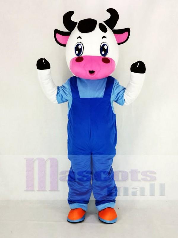Süß Kuh mit Blau Overall Maskottchen Kostüm Karikatur