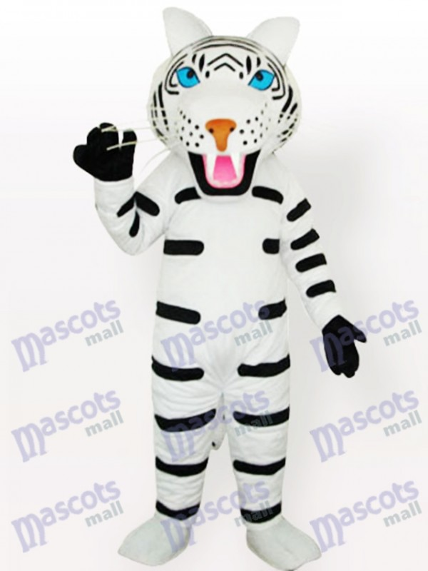 Weißer Tiger mit schwarzen Streifen Maskottchen Kostüm für Erwachsene Typ B